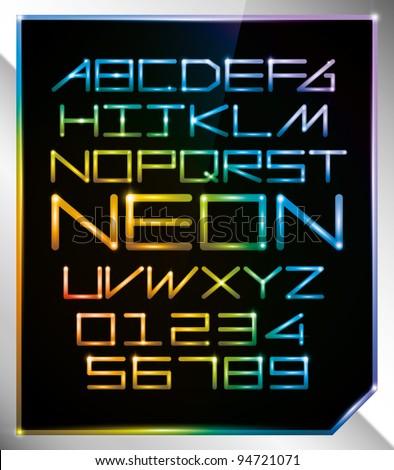 vector of alphabets of glowing neon light - stock vector