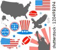 Vector of American symbols set on white - stock photo