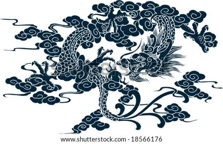 Vector of Ancient Chinese Artistic Dragon Pattern - stock vector