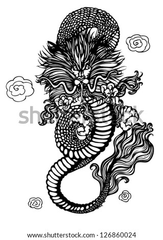 Vector of Ancient Chinese Dragon Pattern. Black Dragon isolated on White background. Vector illustration.eps10