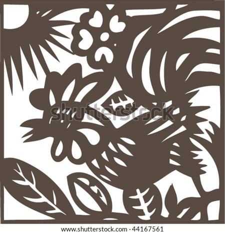 Vector of ancient Chinese zodiac paper-cut pattern