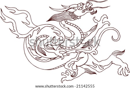 vector ancient traditional chinese dragon pattern stock vector
