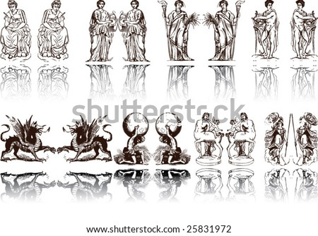 Vector of Artistic Rome and Egypt Pattern - stock vector