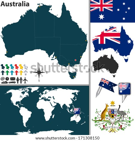 Vector of Australia set with detailed country shape with region borders, flags and icons - stock vector