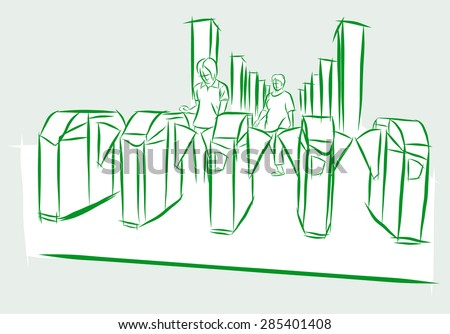 Vector of automatic entrance of subway - stock vector