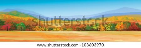 Vector of autumn landscape. - stock vector