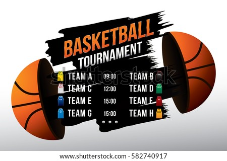 Vector of basketball match with team competition and scoreboard on court background.