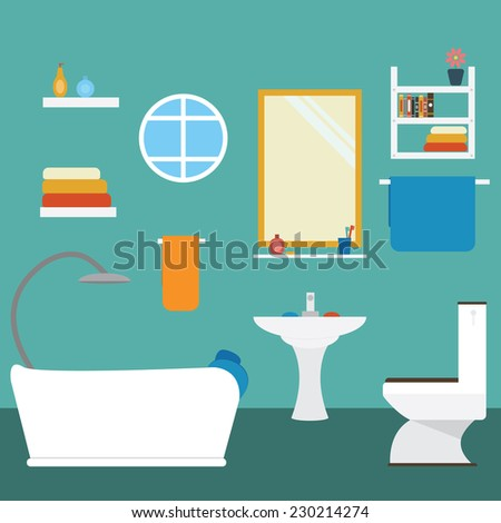 Vector of bathroom - stock vector