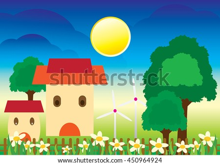 Vector of beautiful house in a beautiful garden