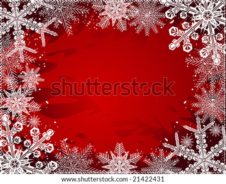 vector of beautiful winter frame on red background