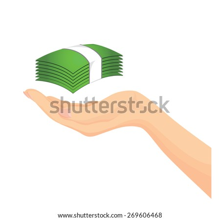 Vector of Beautiful woman hand with banknote isolated on white background - stock vector