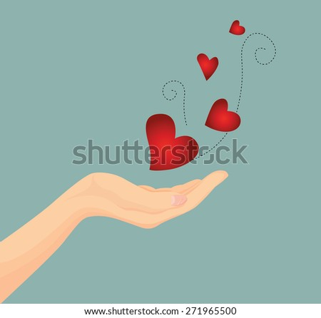Vector of Beautiful woman hand with flying red heart concept giving heart for Valentine  - stock vector