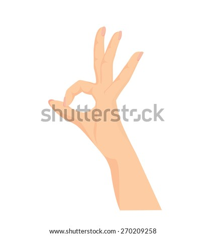 Vector of beautiful Woman's hand making OK sign isolated on white background  - stock vector