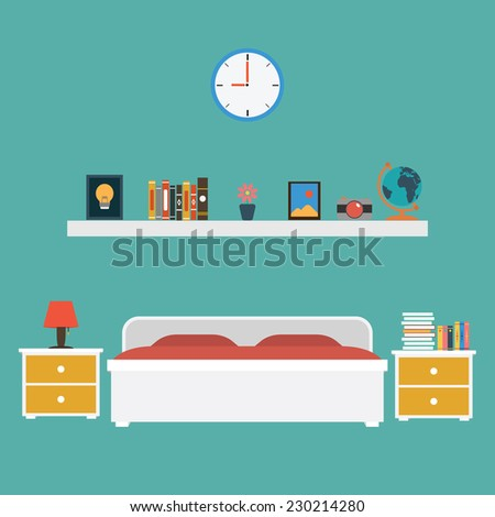 Vector of Bedroom flat design - stock vector
