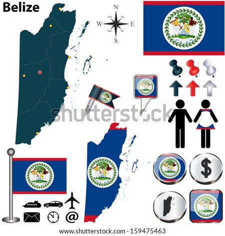 Vector of Belize set with detailed country shape with region borders, flags and icons