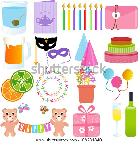 Vector of birthday Party Elements with candle, invitation card, party hat, present, Masquerade eyes mask. A set of cute and sweet icon collection in pastel colors isolated on white background