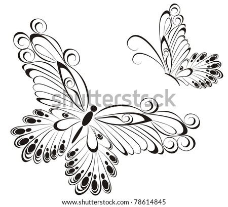 Vector of black and white butterflies - stock vector