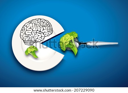 Vector of Brain food. Clean Eating Concept. - stock vector