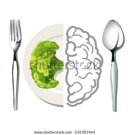 Vector of Brain food concept  - stock vector