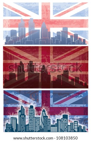 Vector of British flag grunge background  with London city on - stock vector