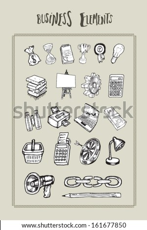 Vector of business elements - stock vector
