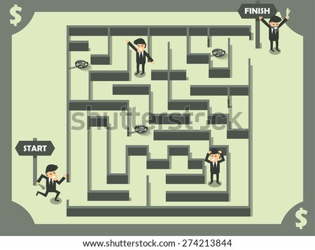 vector of business man finding out the exit of maze, business success concept in dollar color theme - stock vector