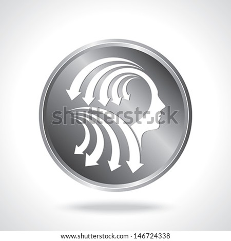 vector of business mind with arrows - stock vector