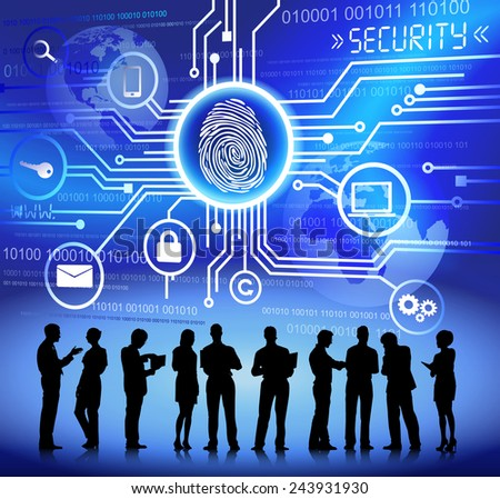 Vector of Business People Discussing about Internet Security - stock vector