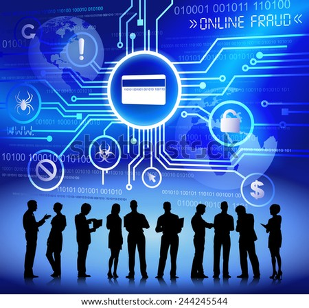 Vector of Business People Discussing about Online Fraud - stock vector