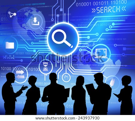 Vector of Business People Discussing about Searching - stock vector