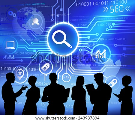 Vector of Business People Discussing about SEO - stock vector