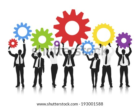 Vector of business people hold up technology gear.  - stock vector