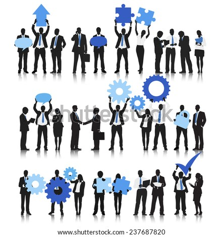 Vector of Business People Holding Business Objects - stock vector