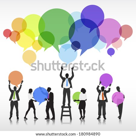 Vector of Business Silhouettes and Speech Bubbles - stock vector