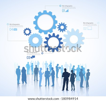 Vector of Business Teamwork with Gears and People - stock vector