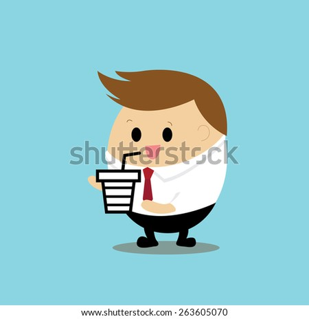 Vector of Businessman drinking coffee - stock vector
