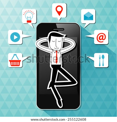 Vector of businessman lie on smart phone with application icon. Make your life easier concept. - stock vector