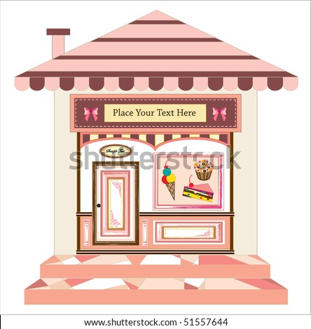 vector of cake cafe with signs on door and in front, ready for your text - stock vector