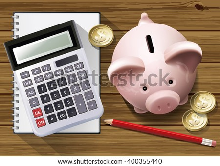 Vector of calculating at home savings concept - stock vector