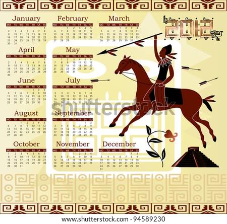 Vector of Calendar 2012 in mayan style with horseman - stock vector