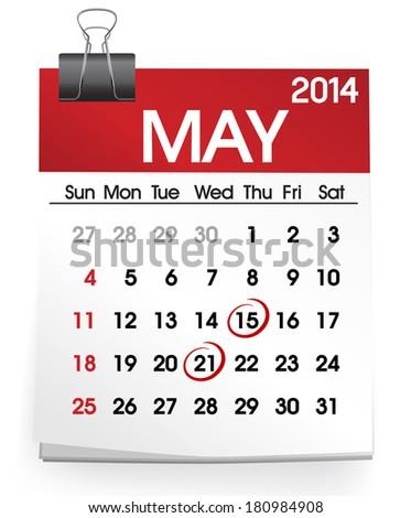 Vector of Calendar: May 2014 - stock vector