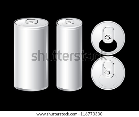 Vector of cans with the ring pull. isolated on black - stock vector