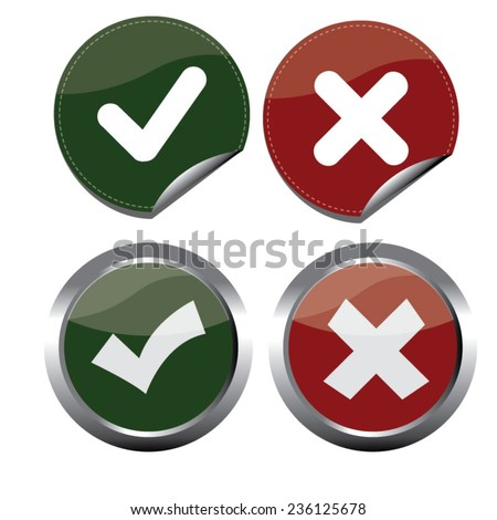 Vector of Check Mark Tick Right Wrong / Yes No / Icon set 1