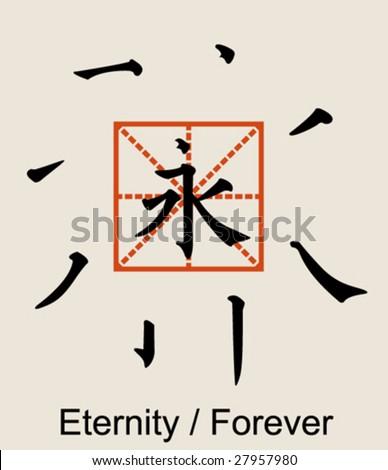 Vector Chinese Japanese Kanji Eternity Forever Eight Stock Vector
