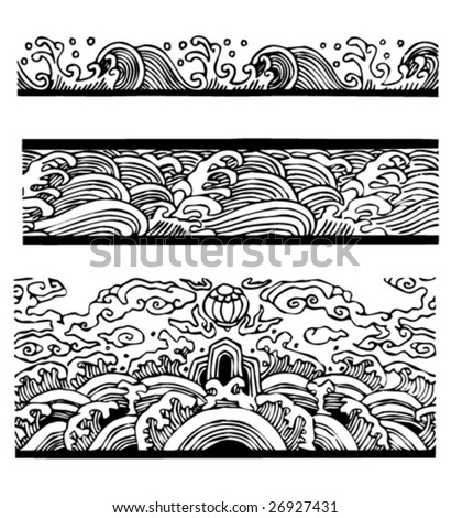 Vector of Chinese Traditional Water Pattern Collection.