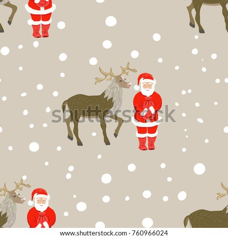 vector of christmas seamless pattern with Santa Claus and christmas deer on snowfall`s background