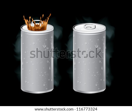 Vector of cold cans open the ring pull. - stock vector