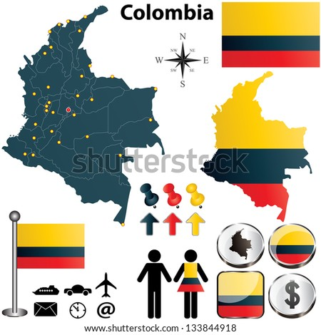 Vector of Colombia set with detailed country shape with region borders, flags and icons - stock vector