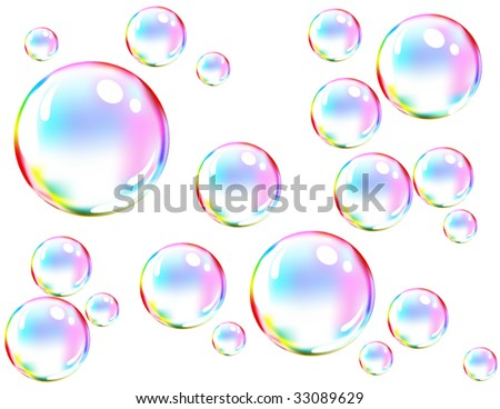 Vector of colored soap bubbles - stock vector
