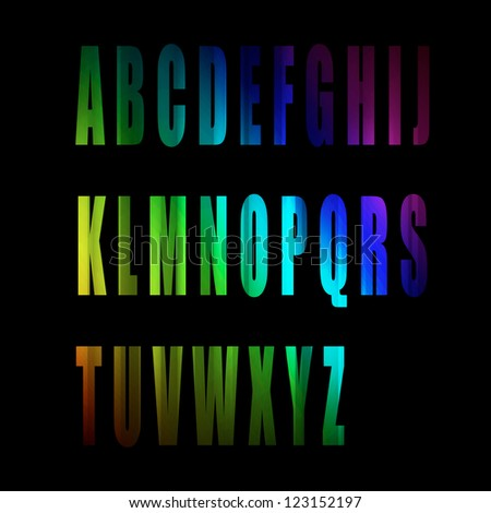 vector of colorful alphabet number